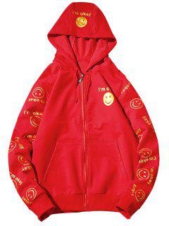 Hooded Front Pocket Smile Face Print Zip Up Hoodie - Red M