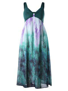 Plus Size Empire Waist Flowing Dress - Green 5xl