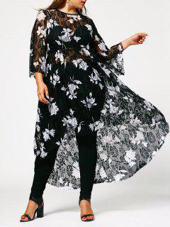 Floral High Low Plus Size Lace Dress - Black 4xl