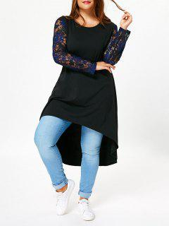 Plus Size Lace Long Sleeve High Low T-shirt Dress - Black 5xl