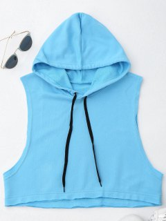 Dropped Armhole Hooded Sports Top - Azure