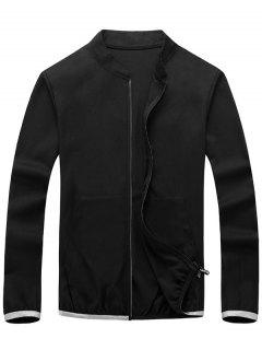 Zip Up Elastic Cuff Lightweight Jacket - Black 3xl
