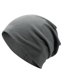 Plain Fall Knitted Pinstriped Beanie Hat - Deep Gray