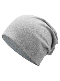 Plain Fall Knitted Pinstriped Beanie Hat - Light Gray