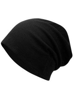 Plain Fall Knitted Pinstriped Beanie Hat - Black