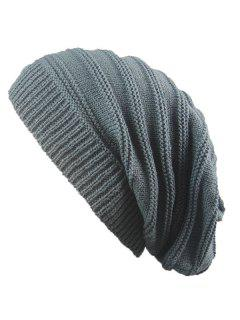 Striped Ribbing Knitting Stacking Beanie Hat - Deep Gray