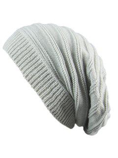 Striped Ribbing Knitting Stacking Beanie Hat - Light Gray
