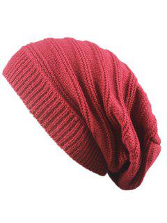 Striped Ribbing Knitting Stacking Beanie Hat - Claret