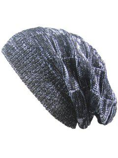 Striped Rib Knitting Warm Beanie Hat - Black