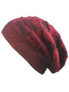 Striped Rib Knitting Warm Beanie Hat - Claret