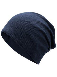 Plain Fall Knitted Pinstriped Beanie Hat - Deep Blue