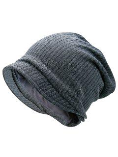 Striped Knitted Warm Beanie Hat - Gray