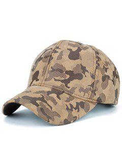 Faux Suede Camouflage Pattern Baseball Hat - Khaki