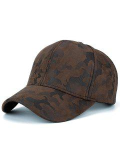 Faux Suede Camouflage Pattern Baseball Dad's Hat - Coffee