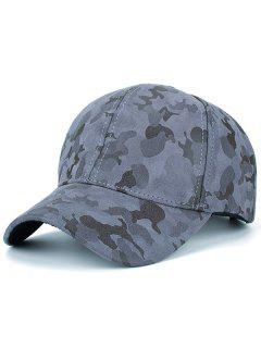 Faux Suede Camouflage Pattern Baseball Hat - Gray