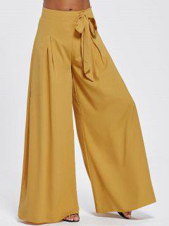 Pantalones De Pierna Ancha De Cintura Alta Con Cordón - Terroso 2xl