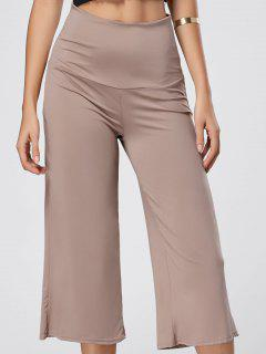 Wide Leg High Waisted Capri Pants - Skin Color S