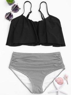 Stripe Panel High Waisted Bikini Set - Black M