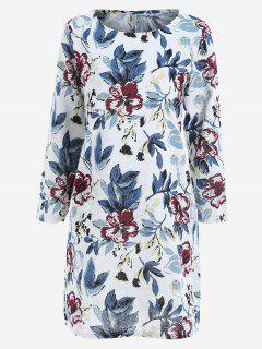 Leaves Print Side Slit Trapeze Dress - Blue Xl