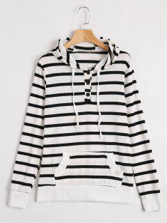Front Pocket Drawstring Striped Hoodie - Stripe L