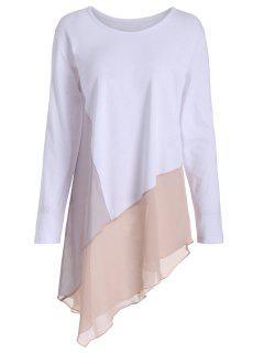 Asymmetric Color Block Long Sleeve Plus Size Tee - White 4xl