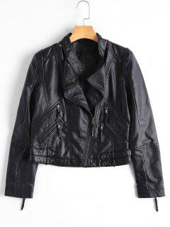 Asymmetrical Zipper Faux Leather Biker Jacket - Black M