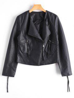 Zip Up Faux Leather Biker Jacket - Black M