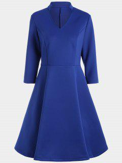 V Neck Three Quarter Sleeves Dress - Blue M