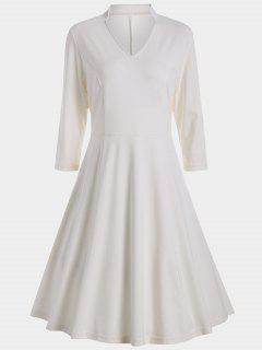 V Neck Three Quarter Sleeves Dress - White L
