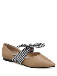 Faux Leather Pointed Toe Tie Up Flat Shoes - Apricot 37