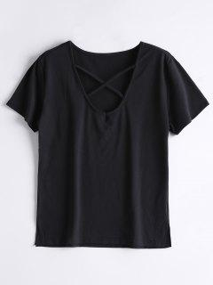 Cotton Criss Cross T-Shirt - Black L