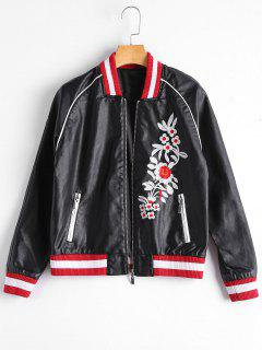 Floral Letter Patched Faux Leather Bomber Jacket - Black M