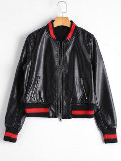 Zip Up Faux Leather Bomber Jacket - Black L