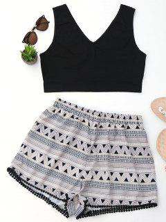 Crop Top And Geometric Print Shorts Set - Black L