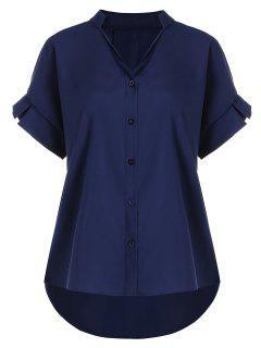 Button Up V Neck Plus Size Blouse - Purplish Blue 4xl