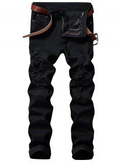Zip Fly Straight Jeans With Extreme Rips - Black 42