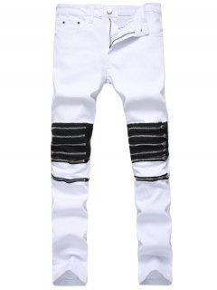Multi Zippers Panel Slim Fit Jeans - White 32