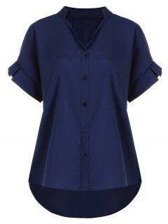 Button Up V Neck Plus Size Blouse - Purplish Blue 4xl