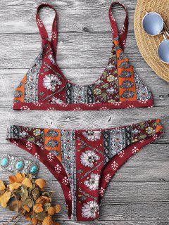 Ensemble Bikini Brassière Imprimée à Encolure Dégagée - Rouge L