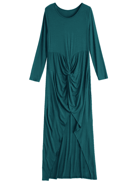unique Wrapped Irregular Scoop Neck Long Sleeve Dress - GREEN XL Mobile