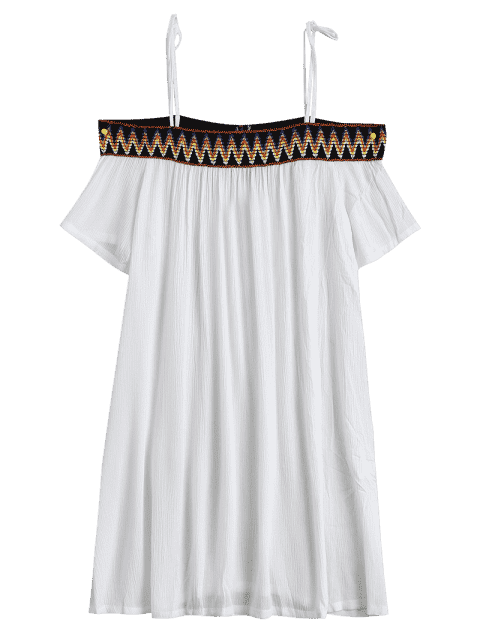 outfit Embroidery Cami Shift Dress - WHITE XL Mobile