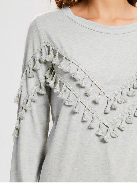 T-shirt à manches longues Embellished Tassels - Gris Clair S Mobile