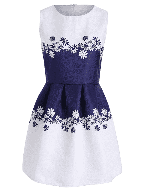 outfit Sleeveless Floral Jacquard Dress - WHITE XL Mobile