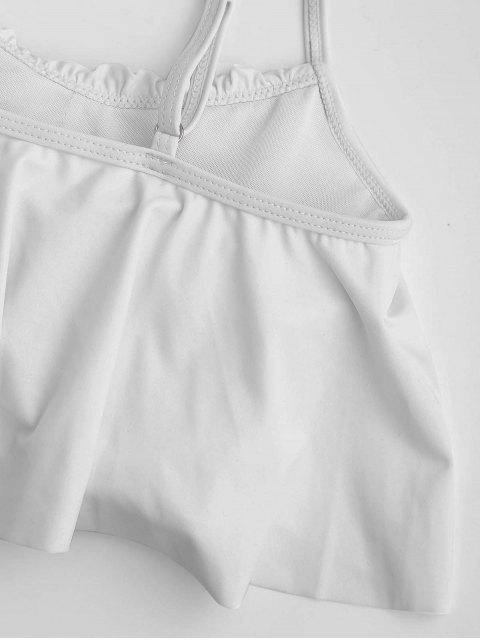 best Stripe Panel High Waisted Bikini Set - WHITE S Mobile