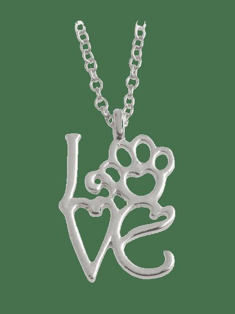 Heart Love Paw Footprint Pet Collier - Argent  Mobile