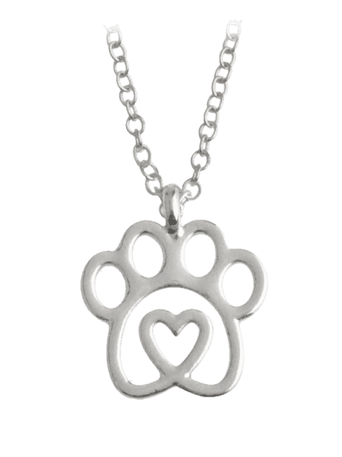 women Heart Claw Footprint Pet Necklace - SILVER  Mobile
