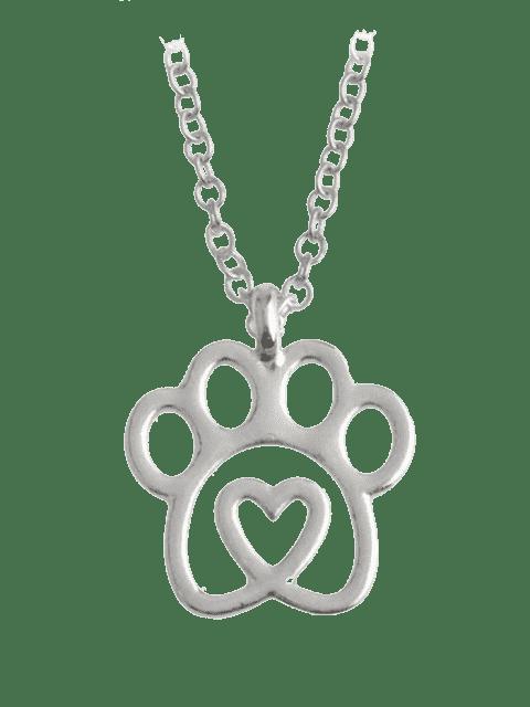 Hängende Halskette mit Herz Form und Fußabdruck - Silber  Mobile