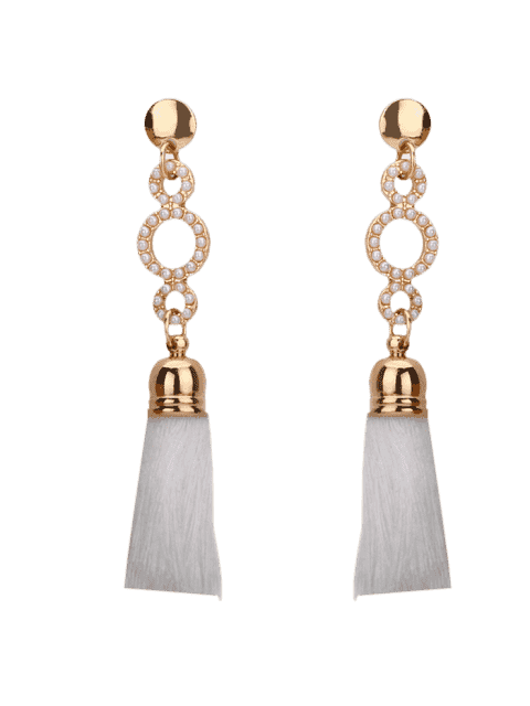 outfit Beaded Circle Tassel Long Earrings - WHITE  Mobile