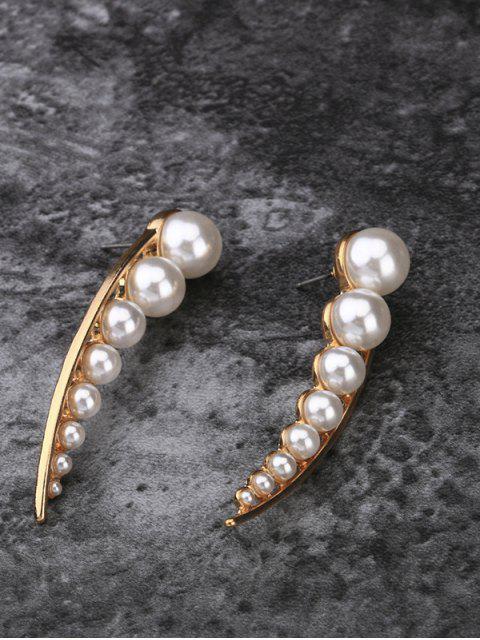 Faux Pearl Pea Shape Stud Earrings - Or  Mobile