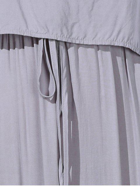shop Irregular Hem Spaghetti Straps Drawstring Side Slit Dress - GRAY M Mobile